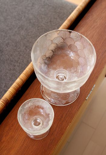 コレクターも多い北欧ヴィンテージガラス食器で、Heikki Orvola(ヘイッキ・オルヴォラ)デザインのもの。  デザートボウルですが、キャンドルを入れて、ディスプレイしても素敵なのだそう。