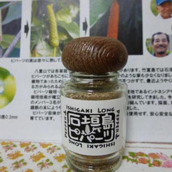 痺れスパイスの番外編として、あまり知られていない「ピパーツ」をご紹介。沖縄県石垣島・八重山諸島で使われている胡椒です。  ヒハツモドキという植物の果実が熟す前(緑色の果実)で採取し、天日干しにして乾燥させた後、さらに炒って、粉にしたもの。  辛みがありますが、シナモンと山椒を混ぜたようなエキゾチックな香りがします。  日本では唯一この八重山地方でつくられており、現地では「島胡椒」と呼ばれています。