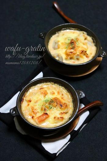 里芋、蓮根がゴロゴロ入った食べごたえ抜群の和風グラタン。他におかずが無くても、この一皿で大満足!白みそが加わることでコクもプラスされ、優しい味わいです。