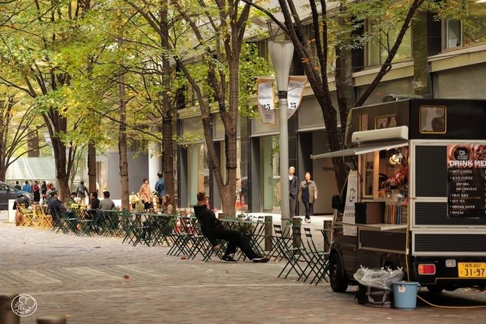丸の内駅舎側から一本進み、南と北をつなぐ大通りが丸の内仲通です。丸の内仲通は多くの高級ブランドショップや素敵なカフェなどが軒を連ねており、ウィンドウショッピングやお散歩コースとしてもとても気持ちのいいストリートです。南方向へまっすぐ進むと、有楽町エリアにたどり着くことができます。