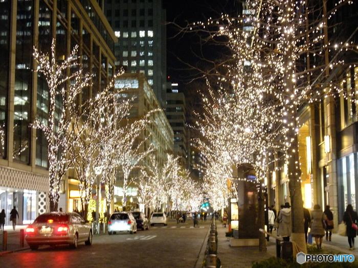 夜のイルミネーションもとてもロマンティックな街道です。