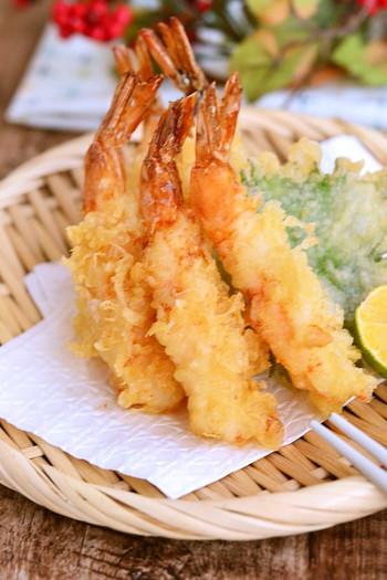 揚げたてのおいしさはもちろん、冷めてもおいしい天ぷらのできあがりです。市販の天ぷら粉を使わなくても、自慢できるサクサク天ぷらになります。
