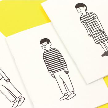 イラストレーターの「Noritake(ノリタケ)」さんがデザインした、ちょっぴりシュールなイラストが描かれたノート。表紙に描かれた人が着ている服によって、中が罫線や方眼と分けられているのもユニークですね。