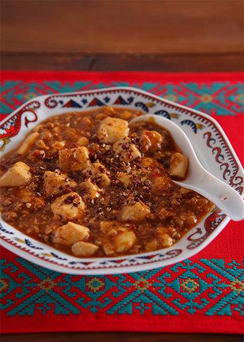 こちらは、自分好みに花椒をたっぷり入れていただきたい「麻婆豆腐」。材料の甜麺醤、豆板醤だけ買い足す必要があるかもしれませんが、ぐっと本場の味に近づきます◎
