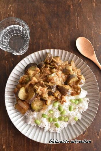 こちらも時短で15分以内に作れちゃう「ナスとツナのクイックカレー」。玉ねぎとナスを炒めてさえしまえば後は簡単にできちゃいますよ!