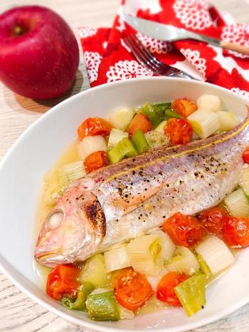 こちらは、アクアパッツァ。トースター用のレシピですが、グリラーを使って魚焼きグリルでもできます。従来の常識から離れていろいろな料理に使えるのが魚焼きグリルの楽しさですね。