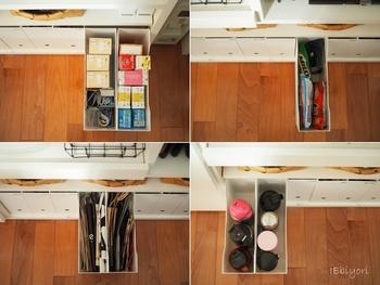 サランラップやフリーザーバッグ、麦茶&コーヒーのストック、水筒やタンブラーなど。様々なものを写真のように立てて収納できるので、出し入れがスムーズにできて便利ですね。カウンターの収納を見直す際には、ぜひニトリのアイテムを検討してみてはいかがでしょうか。