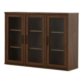 こちらの扉付きのキャビネットも、奥行き30㎝の薄型タイプです。天然木の優しい風合いと、シンプルなデザインが印象的です。クロスガラスをアクセントにしたおしゃれなキャビネットは、北欧やナチュラルテイストのお部屋との相性も抜群です。