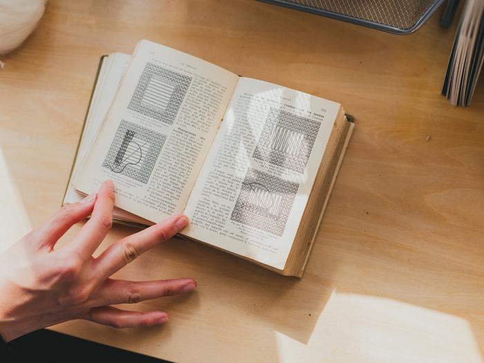 図を参考にしているヴィンテージの刺繍の本