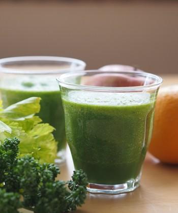 元気に今日も頑張るぞ…。そんな時には、栄養満点グリーンスムージーはいかがでしょう! 小松菜、パセリ、セロリの葉と、緑のお野菜たっぷりですが、りんごやオレンジ果汁、さらには生姜が加わることで青臭さも気になりません。