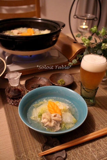 和風出汁と中華スープを合わせたコクのある味わいに、鶏肉の旨みが合わさってとっても美味。  和はかつおだし、中華は鶏がらスープなど、家にある出汁の素を合わせればOK◎