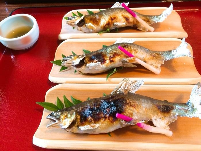 熊本市内から1時間以内で行ける距離感。気軽にアクセスしやすい甲佐町にある鮎料理店「やな場」。緑川に囲まれた自然溢れるお店で、鮎のフルコースを頂くことができます。
