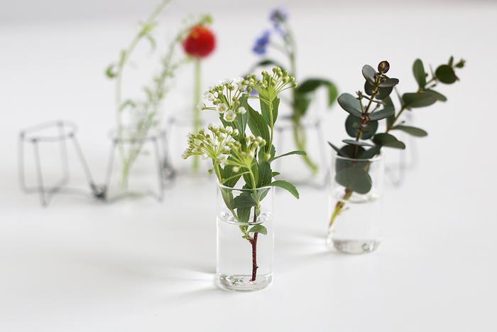 ワイヤーからはずして、ガラス花器だけで使っても素敵です。ワイヤーの近くにガラス花器だけを置いてみると、動きを感じるアレンジメントに仕上がりました。