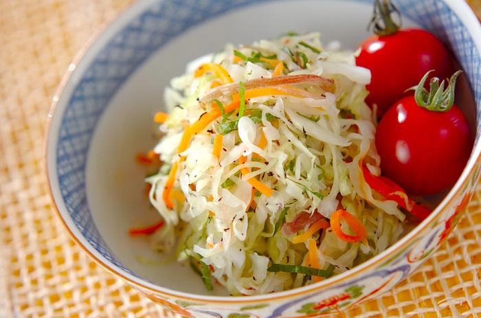 千切りにしたキャベツやにんじんに塩をし、しんなりしたら揉みます。あとは、ゆかりや大葉を混ぜ合わせるだけ。簡単ですがおいしくて栄養があり、シャキシャキといい歯応え。作り置きもできます。
