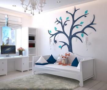 ブラインドやテレビ台、ソファ・壁・床から照明まで、本棚を含めた大きな家具類を全てホワイトで揃えたコーディネートです。  ネイビーのクッションと壁アートがアクセントになり、爽やかでポップな統一感のある空間に。