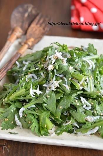 濃厚タッカルビ風の「鶏肉とキムチのチーズ焼き」のお供には「しらすと春菊の塩だれサラダ」がお口直しに活躍してくれます。栄養満点の春菊は生で食べるととってもおいしいんです。ぜひ試してみてくださいね。