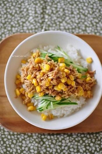 乾物の切り干し大根とツナとコーンの缶詰、そしてキュウリがあればパパッと作れる「切り干し大根のサラダ丼」。切り干し大根はビタミンCも豊富でストックできる便利な食材。忙しい時やお給料日前のお助けヘルシー丼です。