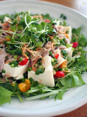 食感がツルンとしたお豆腐はサラダにもぴったりです。お野菜たっぷりのサラダに、豚しゃぶとお豆腐を乗せてボリュームアップ。