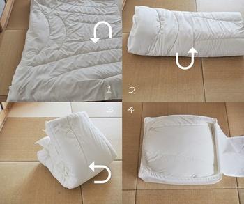 IKEAの収納ケースは、布団の大きさに合わせて3タイプから選べます(44×55×19cm・69×55×19cm・93×55×19cm)。こちらの写真は44×55×19cmのもの。合い掛け布団1枚を小さく畳んで、ちょうどよく収納することができます。