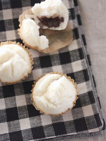 米粉に甘酒を混ぜて作る、もっちり蒸しパン。甘酒とあんこのやさしい甘みにほっこり。粒子の細かい製菓用の米粉を使うことで、ふんわりとした仕上がりになります。