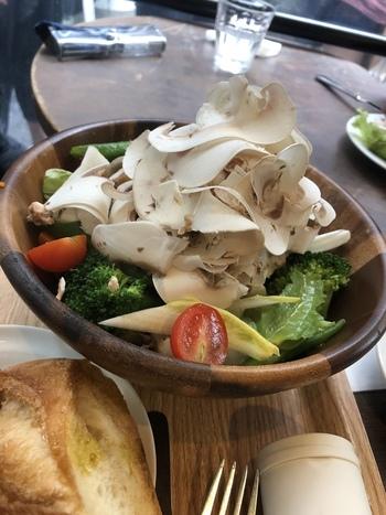 脇役食材になりがちのマッシュルームが主役のメニューが豊富に揃っています。こちらの「ひらひらマッシュルーム」は、森の香りが広がるサラダ。鮮度の良いマッシュルームならではの1品です。
