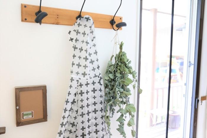 たっぷりとしたユーカリはざっくりと束ねて吊るしておきましょう。窓や玄関の近くに置いておくと、清涼感のある香りに虫も入ってこれなくなりそうです。