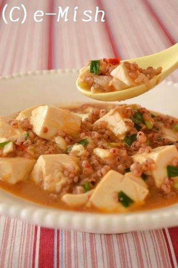 高きびを人気の中華メニュー「マーボー豆腐」にアレンジ。食感はそのままに、カロリーオフがうれしい一品です。