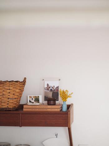 棚のちょっとしたスペースには、小瓶に挿したミモザを。花瓶の大きさにこだわらず可愛く生けられるのも、ミモザの良さのひとつです。