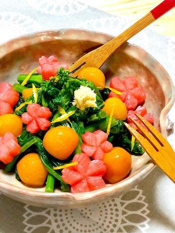 きんかんの甘煮は箸休めとしても使われますが、こんな風にサラダにアレンジすると応用の幅が広がりますね。旬の菜の花と和えて、季節感溢れる色鮮やかな一品に。