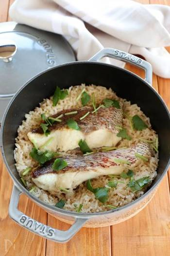鯛の切り身で作る「鯛めし」はお鍋や土鍋で豪快に炊いてそのまま食卓にドーンと出したい豪華な一品。蓋を開けた瞬間の香りが食欲をそそります。「オメデタイ」というようにお祝いの席にも喜ばれる一品です。