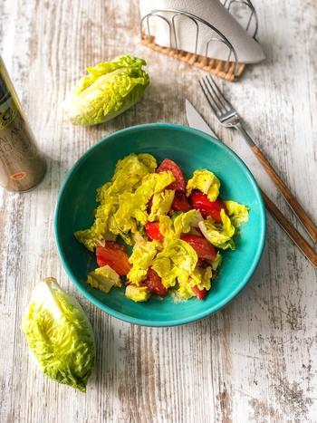 サラダを作る時にも「レタスは手でちぎって、きゅうりやパプリカは調理ばさみでカットする」。それだけで完成! 野菜の切り口がギザギザになることでドレッシングがよくしみるという利点もあるので、気軽に試したいですね。