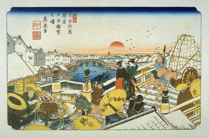 陸路である街道は、日本橋から京や地方へと続き、日本橋上では、様々な荷や人が行き交い、賑わっていました。  つまり「日本橋」は、江戸期からトラック運輸が一般になる近現代まで、全国へと広がる陸路と、全国津々浦々へと繋がる海路・水路が結節する、江戸・東京の陸水両運輸の大きな要ともなっていたのです。 【渓斎英泉筆『木曾街道 続ノ壱 日本橋 雪之曙』 】
