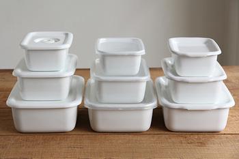 真っ白でシンプルな「野田琺瑯」の「ホワイトシリーズ」は、 におい移りも型崩れもなく、汚れもつきにくく高機能。シリーズで揃えると、冷蔵庫の中の景色が美しいものに変わりそう。