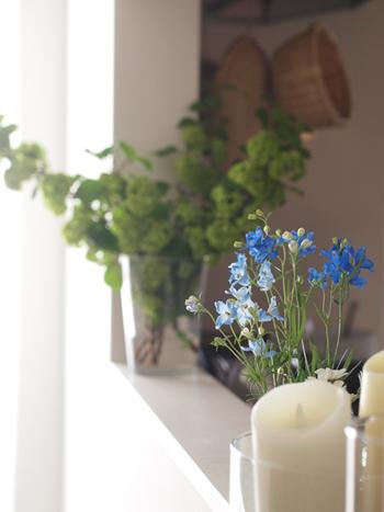 もちろん、お庭のお花をカットして飾ったり、フレッシュな切り花を買ってきたりするのもいいですね。グリーンを飾っておくと、お部屋もいきいきと見えるようになります。
