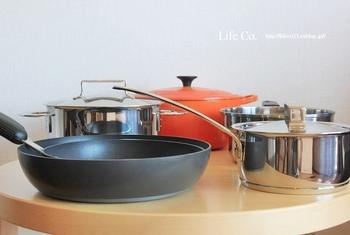 調理器具の大きさにも心を配ってみましょう。作るものに合わせたちょうどよい大きさのお鍋は、熱効率も良く、すばやく調理ができます。
