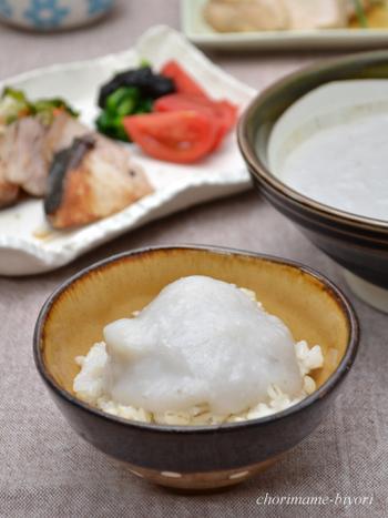 里芋を使用したとろろ風レシピ。シンプルなとろろ丼も美味しいですが、タマゴや明太子をのせたり、とろろそばにアレンジしたり、焼いて味わったり、意外とバリエーション豊富に楽しそうです。