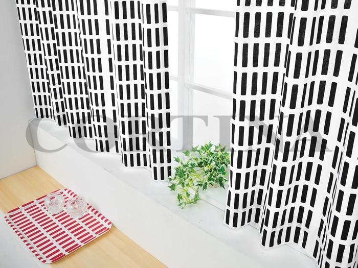Artekの代表的なファブリックのカーテンです。シンプルな長方形のモチーフが並んだデザインがとてもおしゃれ。ベッドカバーやラグなど、お部屋に多めにカラーを使っている人におすすめです。