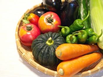 【ビタミンA(β-カロテン)】 にんじん、つるむらさき、トマト、かぼちゃ、パプリカ など。  【ビタミンD】 乾燥きくらげ、まいたけ、しめじ、エリンギ など。  【ビタミンE】 かぼちゃ、モロヘイヤ、パプリカ、にら など。  【ビタミンK】 パセリ、モロヘイヤ、春菊、小松菜、つるむらさき など。