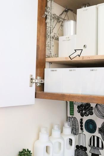 洗濯ネットや洗濯バサミなど、ランドリー関連グッズとともに洗濯機上の棚にまとめて収納。収納ボックスを白でまとめれば、統一感と清潔感が生まれます。