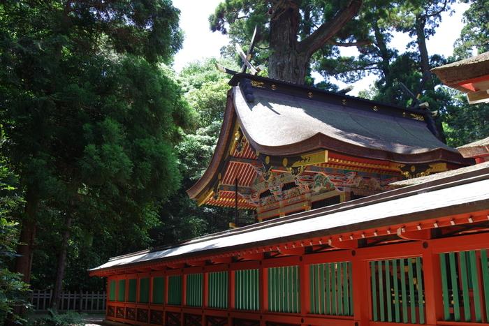 本殿・石の間・幣殿・拝殿の4棟からなる社殿は、1619年(元和5年)に徳川2代将軍の秀忠が寄進したもの。本殿に祀られているのは、日本建国・武道の神様である「武甕槌大神」です。