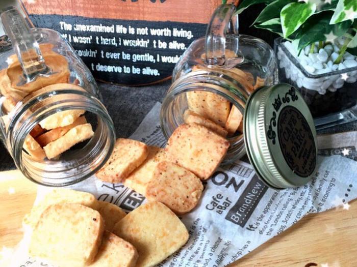 チーズを加えたりスパイシーな味にすれば、おつまみクッキーにもなります!塩気やチーズの風味が絶妙で、甘さ控えめなのでついつい手が伸びてしまう味に。岩塩・ブラックペッパー・パルメザンチーズなど、ぜひいろいろなフレーバーで楽しんでみて♪