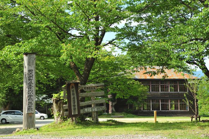 田沢湖を訪れたら、湖畔にある「思い出の潟分校」にもぜひ立ち寄ってみてください。明治15年(1882年)に開校し、昭和49年(1974年)に廃校となっていた「田沢湖町立生保内小学校潟分校」が修復され、平成16年(2004年)から一般公開されています。門の前に立つ大きな桜が、学校の歴史を見守ってくれているようですね。