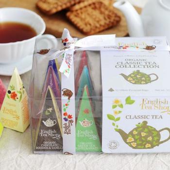 コーヒーが苦手な方へのプレゼントなら、「English Tea Shop(イングリッシュティーショップ)」の紅茶アソートセットがおすすめ。オーガニックにこだわって作られた紅茶は、味はもちろんパッケージのキュートさもギフトにぴったりなアイテムです。