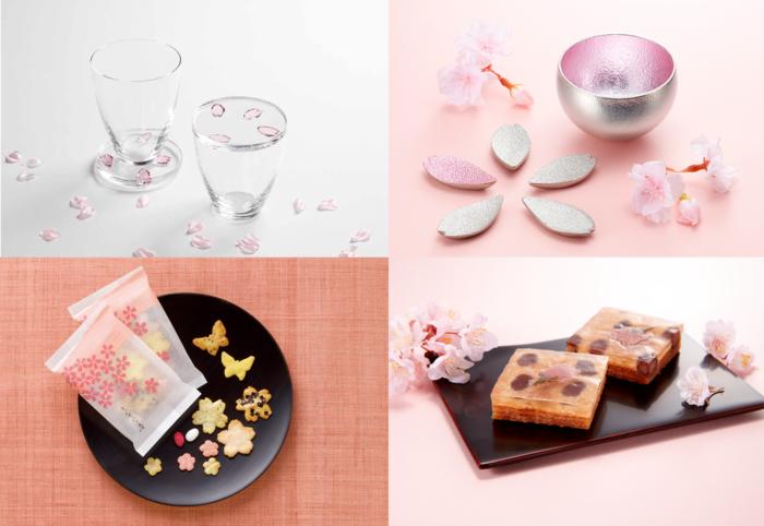 (左上)水面に浮かぶ桜の花びらをイメージしたガラス製グラス。付属のコースターは豆皿としても使えます。【スガハラ|サクラフロート 各\4,320(左から410ml、300ml)】(右上)桜色の箔があしらわれたぐい吞みと、花びらをかたどった箸置き。テーブルを春らしく彩ってくれます。【能作|Kuzushi-Yure-ミニ 桜箔 \5,400】【能作|箸置-「さくら」-5ヶ入桜箔 \4,320】(左下)桜や蝶など、春らしいモチーフ満載のおかき。ちょっとした手土産にも◎。【銀座あけぼの|それぞれの春 \162(1パック)】(右下)一口サイズのバウムクーヘンの上にわらび餅と桜の蜜漬けを重ねた、一風変わった和洋菓子。新食感が楽しめます。【まめや金澤萬久|わらびもちバウム さくら (1個)\216】 ※表示価格はすべて税込みです。  『SAKURA FESTA』は3/13~3/26の約2週間にわたって開催され、16日・17日の土日には花を使ったワークショップも開かれます。