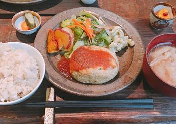 百薬御膳のメインである薬草豆腐ハンバーグは、鶏のひき肉によもぎやすぎななどの野草が混ぜ合わせてあり、あっさりとした味わい。オーガニック野菜の付け合せも彩り豊かです。