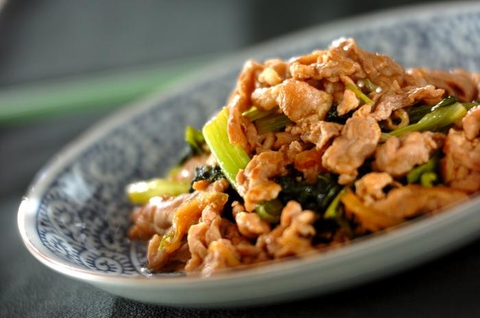 野菜不足の解消にもオススメの豚肉の小松菜のショウガ焼き。小松菜は実は、ほうれん草よりも鉄分もカルシウムも豊富に含まれていて、特にカルシウム含有率は野菜の中でトップクラスなのです。