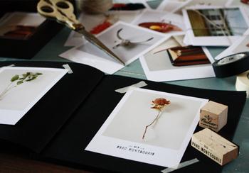 1ページに写真を1枚。余白をたっぷり使うことで洗練された雰囲気に。黒の台紙が写真を印象的に際立たせています。