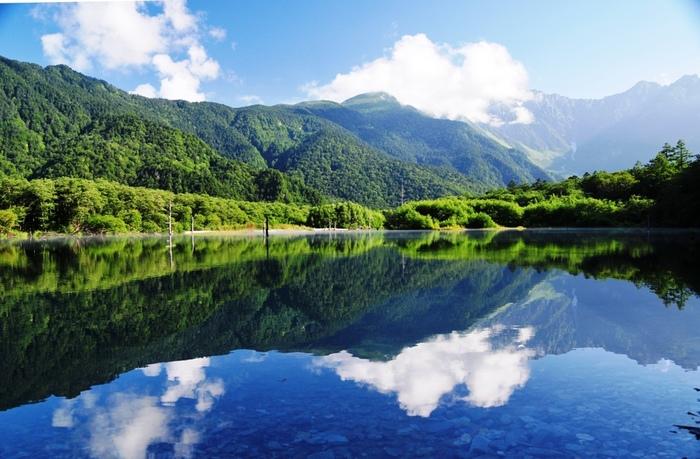 大正池の眺めを見ながら、いよいよハイキングスタートです!正面に見える焼岳、右手の穂高連峰、枯木立の美しい風景をじっくりと楽しみましょう。その後は、河童橋に向けて再スタート。最初は大正池の湖畔を歩き、湖畔を離れると、小川と並行するように木の橋が現れるので、そこを歩いて行きましょう。しばらく行くと、もう一度大正池の湖畔へ…。 スタート地点とはまた違った美しい景色が広がるので、心行くままにお楽しみ下さい♪ しばらくは見通しのきかない、林の中を歩きますが、途中、湿原のようになっていて、木々の間から焼岳が見えたりもします。
