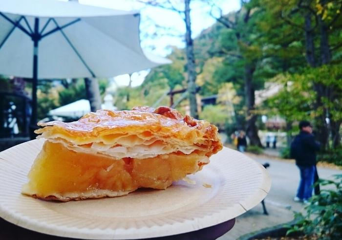 「トワサンク」のアップルパイは、信州の美味しいりんごの味と香りを存分に楽しめる逸品。シナモンや香料などを一切使用せず、採れたての完熟ふじりんごを、なんと丸々6個分も使用しています。 パラソルのあるテラス席もあるので、天気の良い日には自然の中で味わうのもおすすめです。上高地で人気No.1の絶品アップルパイ、上高地を訪れた際は、是非一度、味わってみてはいかがでしょうか!