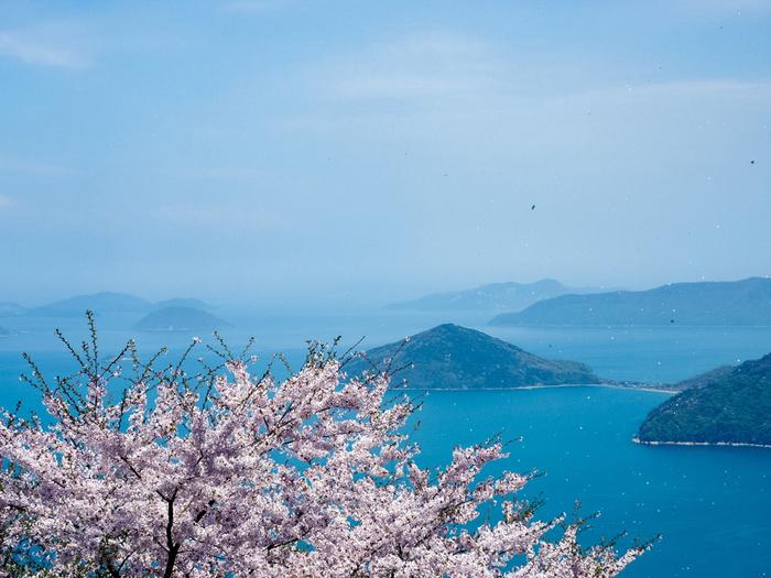 「オーベルジュ ドゥ オオイシ」から車で約1時間20分ほどで、香川県三豊市の荘内半島に位置する「紫雲出山」に着きます。 自然豊かな遊歩道を歩きながらその山頂を目指せば、息をのむほど美しい瀬戸内海の風景が広がります。春は桜と一緒に楽しむことができます。